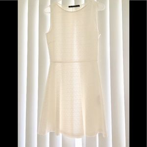 ZARA White Textured Fit and Flare Dress